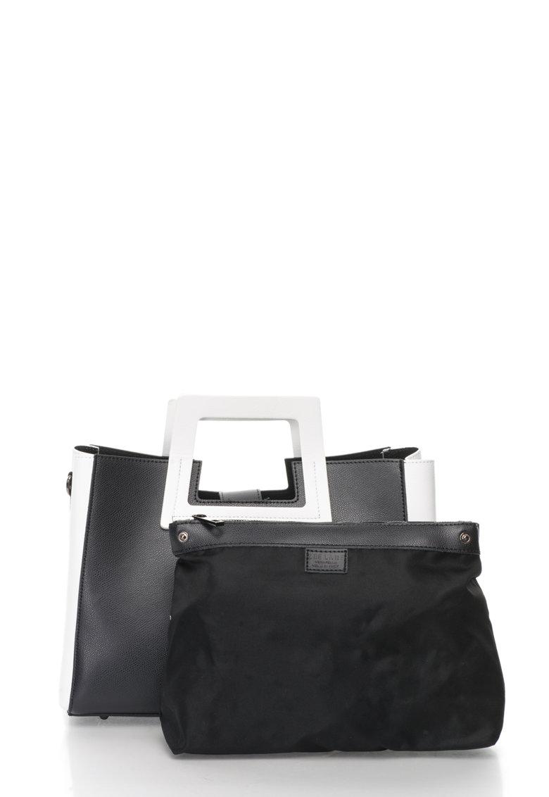 Zee Lane Geanta negru cu alb de piele cu design minimalist