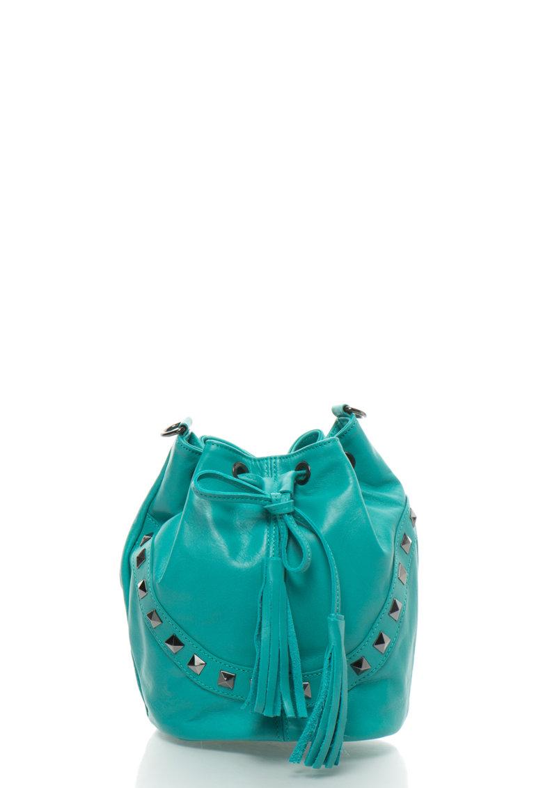 Zee Lane Geanta bucket crossbody verde veronesse de piele