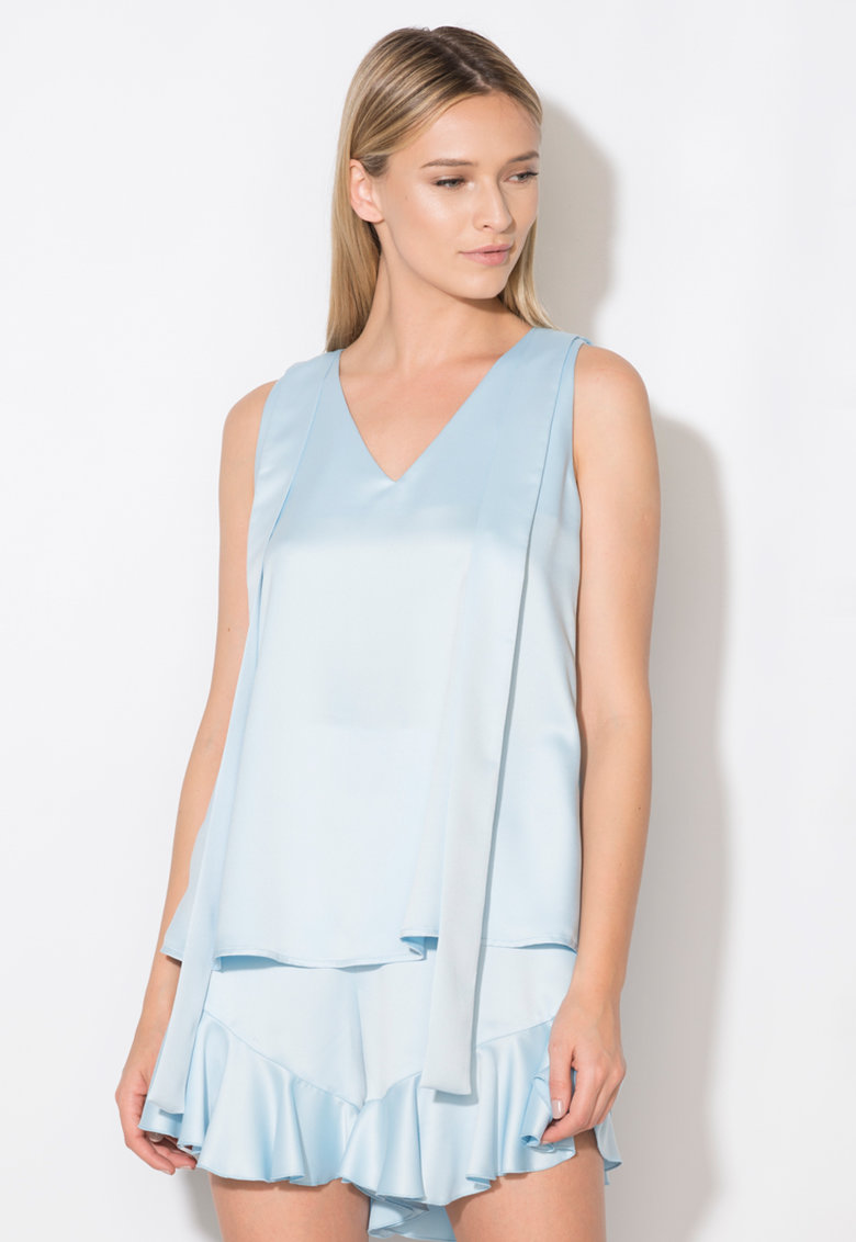 Zee Lane Collection Top bleu cu detaliu cu funde