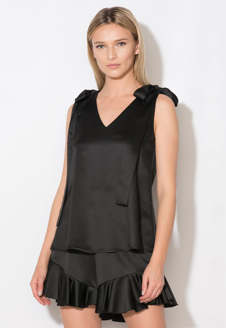 Zee Lane Collection Top negru cu funde