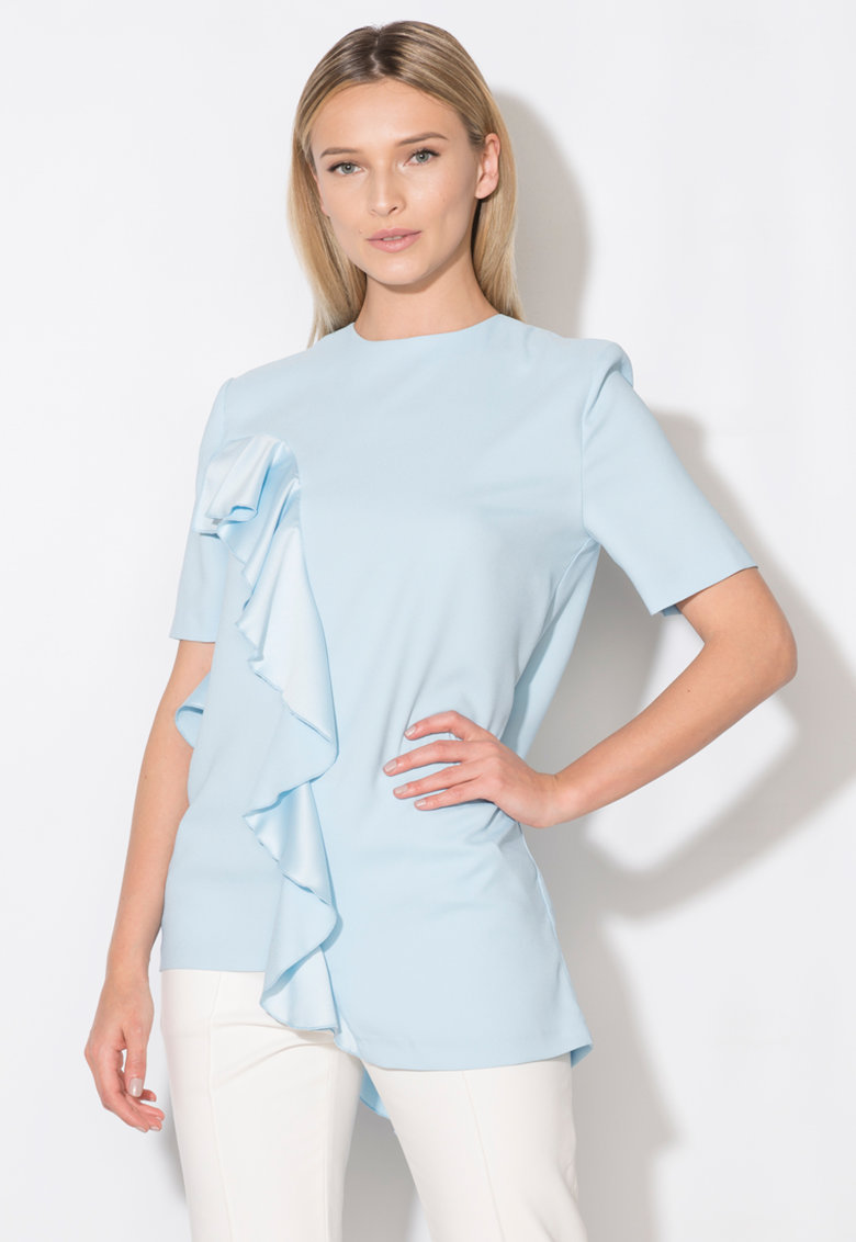 Zee Lane Collection Bluza asimetrica bleu cu volane