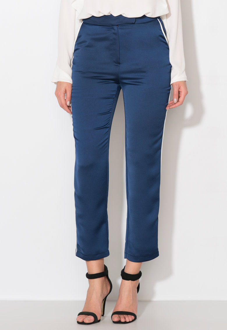 Pantaloni bleumarin cu garnituri tubulare albe Zee Lane Collection