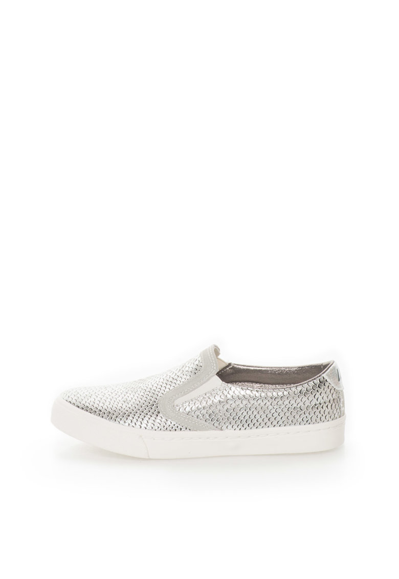 Sandale slip-on argintii cu model reptila Sonia
