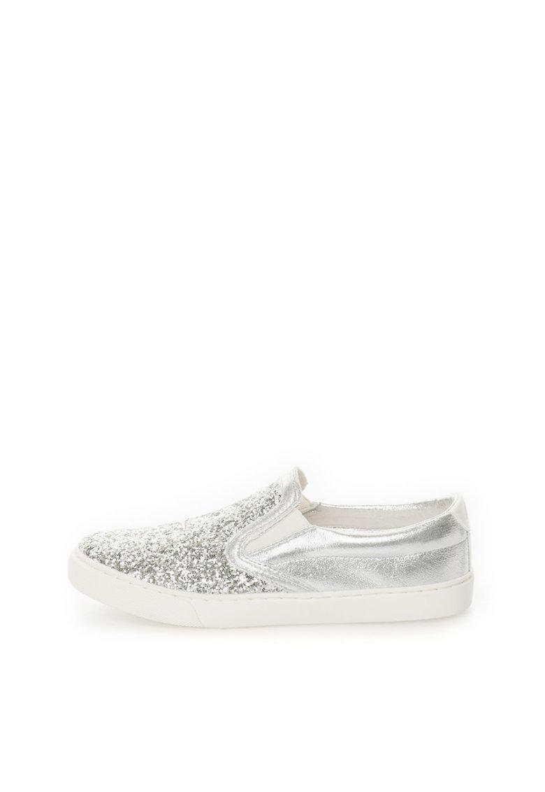 Pantofi slip-on argintii cu particule stralucitoare Sonia