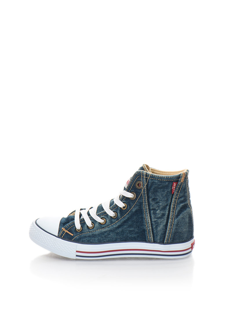 Tenisi mid-high bleumarin din denim cu aspect decolorat