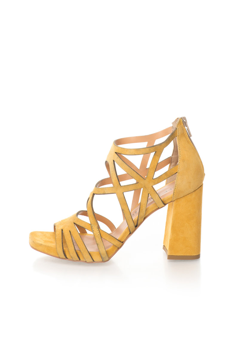 Zee Lane Collection Sandale galben mustar de piele intoarsa cu toc masiv