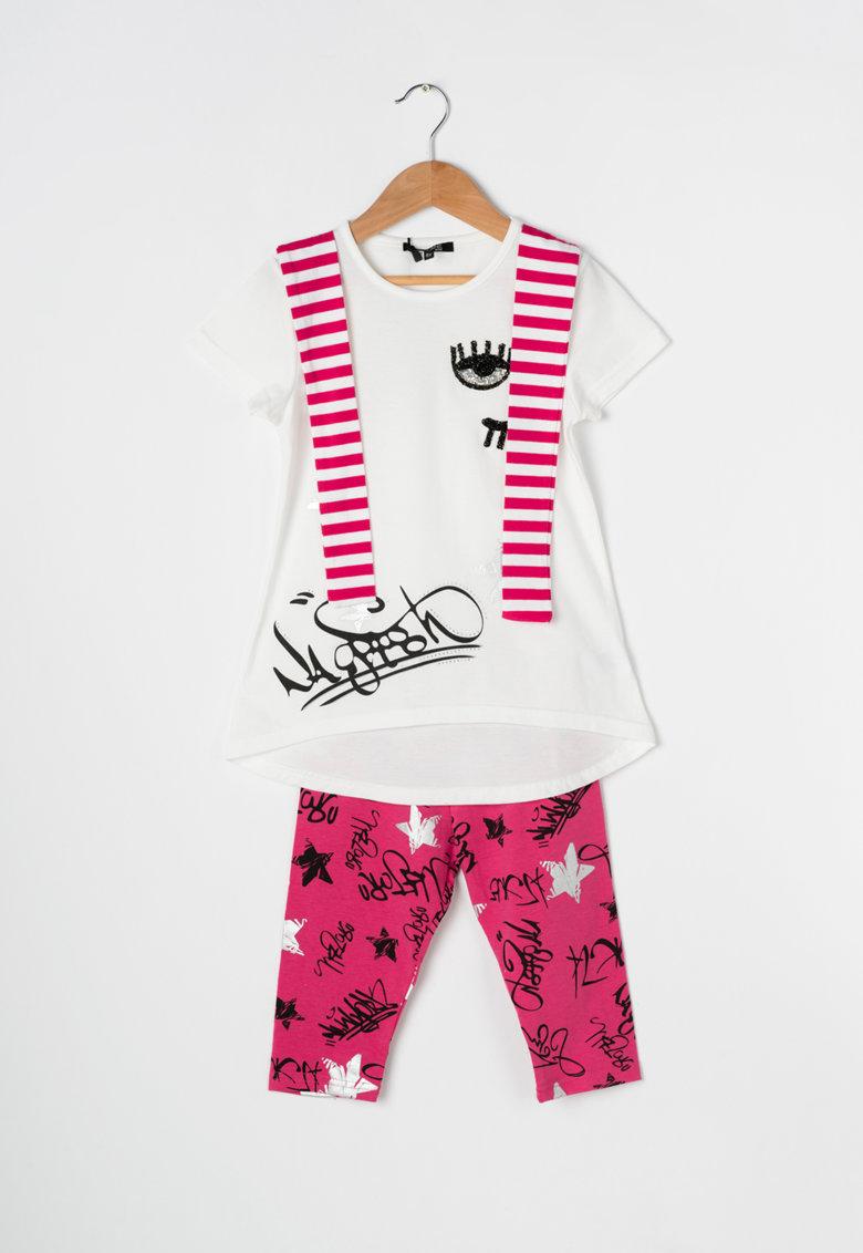 Zee Lane Kids Set alb cu roz de tricou si colanti