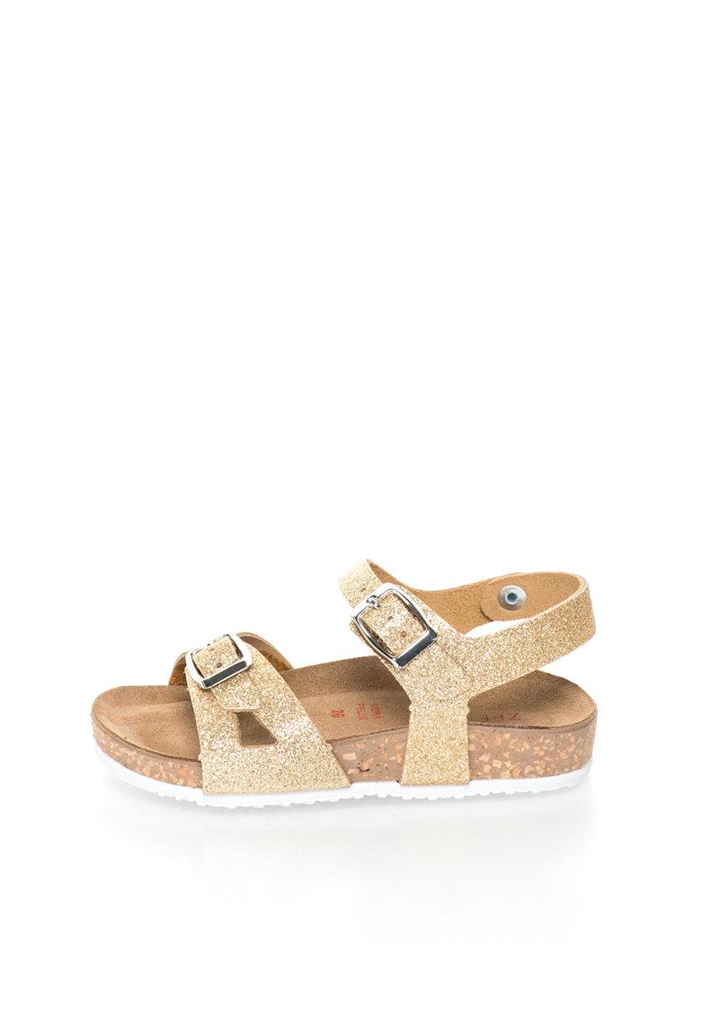 Sandale aurii stralucitoare de piele