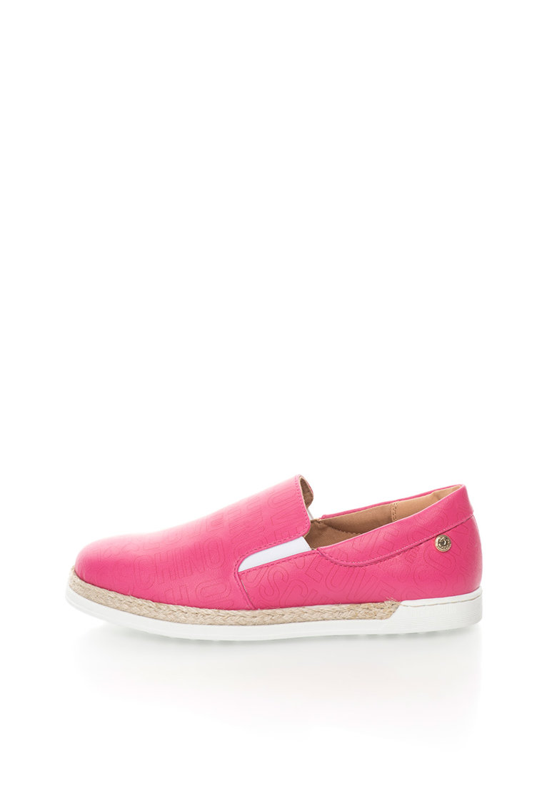 Love Moschino Pantofi slip-on fucsia cu garnitura din iuta impletita