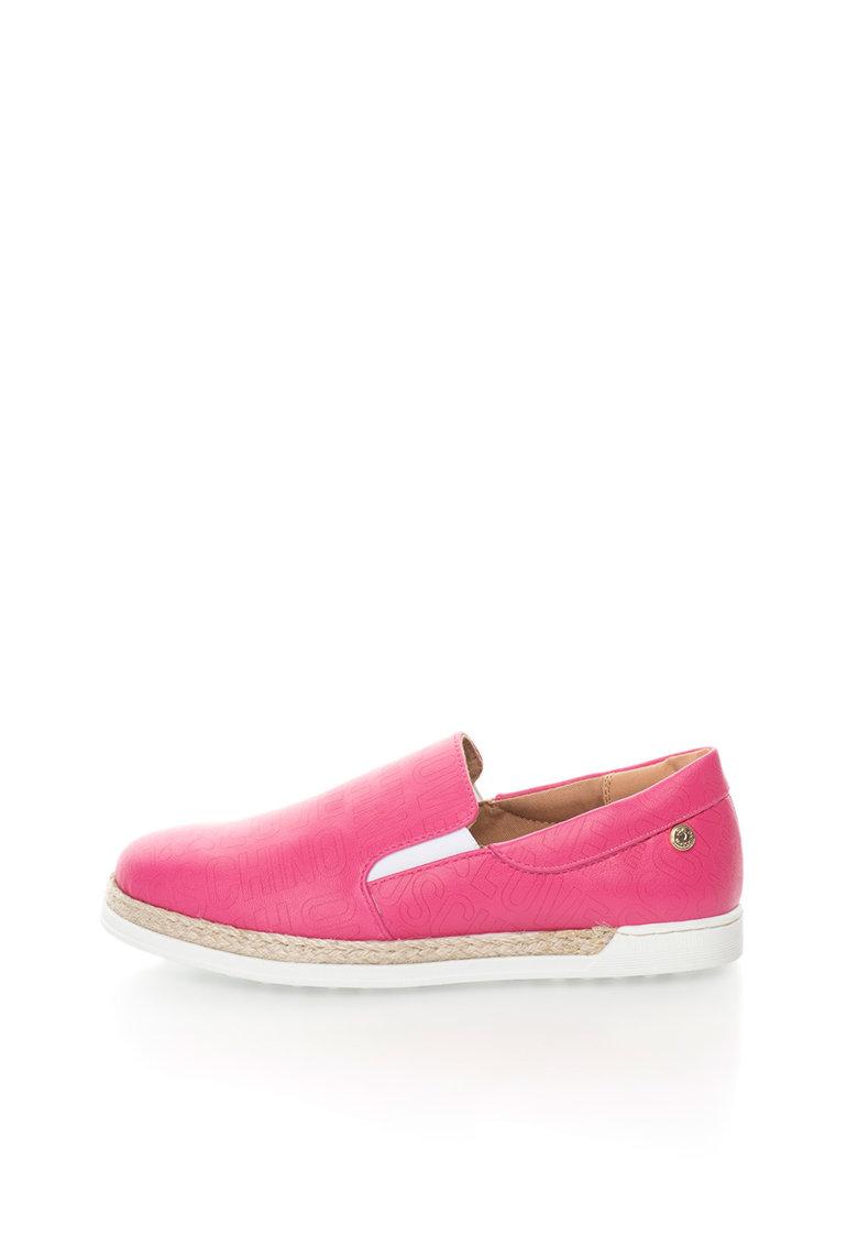 Pantofi slip-on fucsia cu garnitura din iuta impletita de la Love Moschino