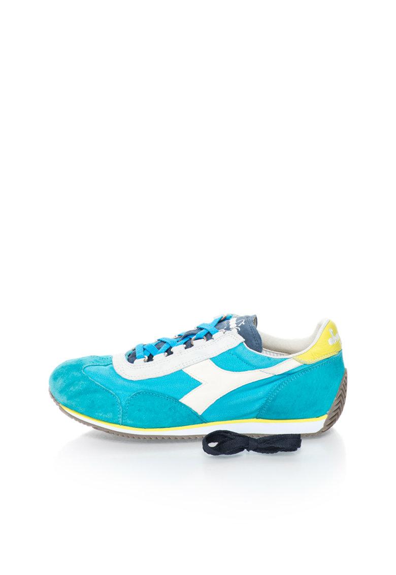 Diadora Heritage Pantofi sport in nuante de albastru si alb Equipe
