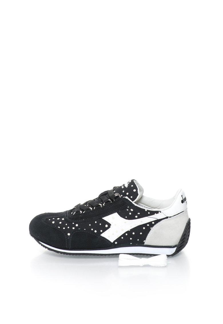Diadora Heritage Pantofi sport negri cu pete decorative Equipe
