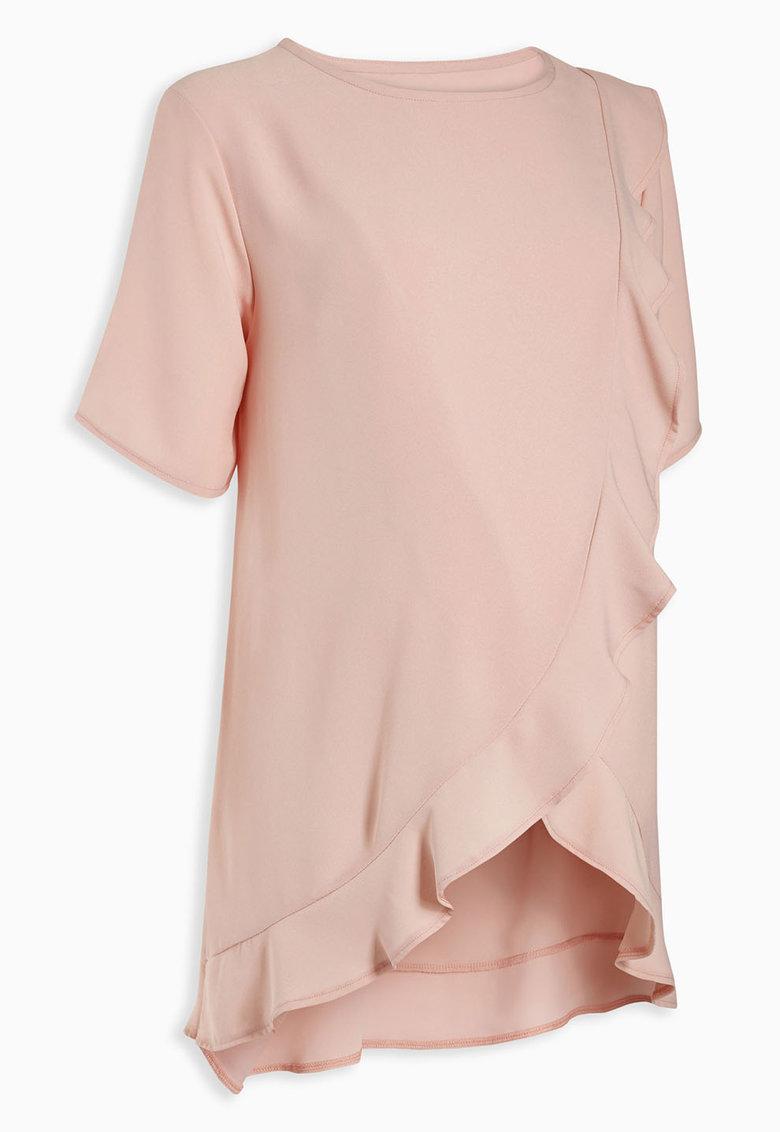 Bluza roz cu volan la terminatie pentru gravide