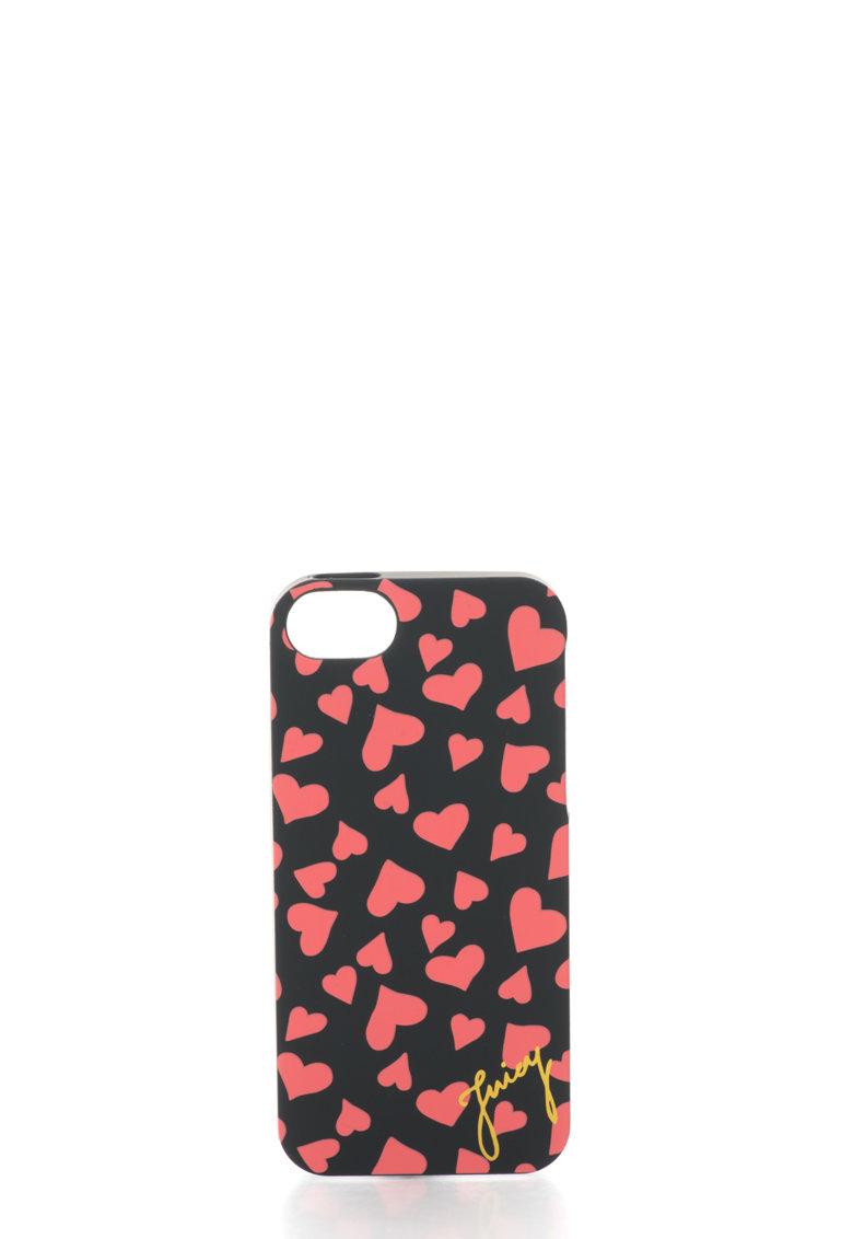 Juicy Couture Carcasa pentru iPhone 5/5S neagra cu inimioare