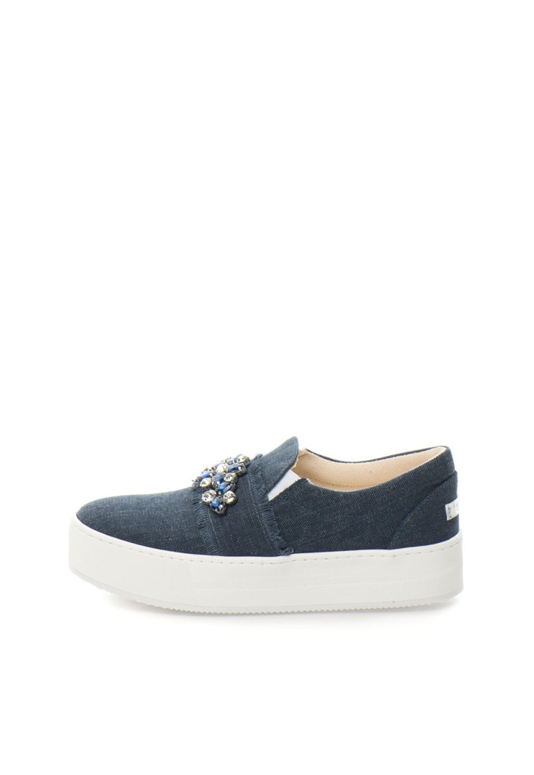 Pantofi slip-on flatform bleumarin de denim