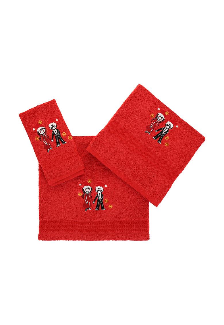 Leunelle Set de prosoape rosii cu broderii tematice – 3 piese