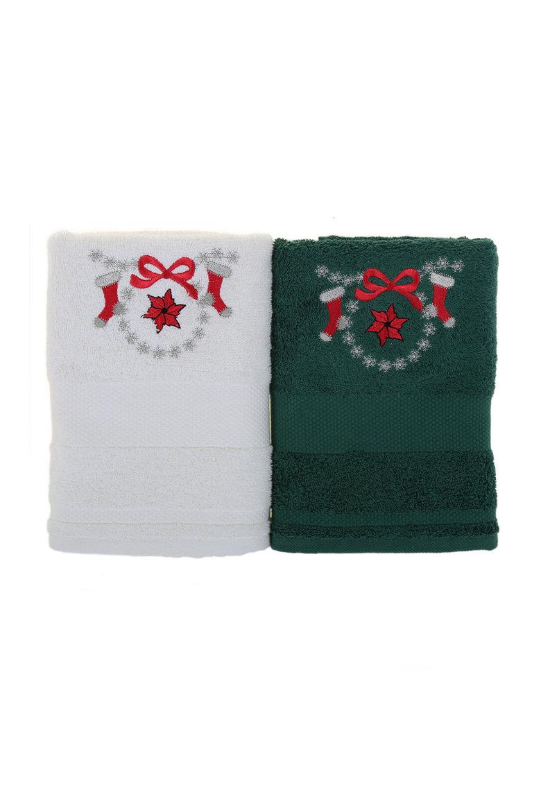 Leunelle Set de prosoape alb cu verde inchis cu design tematic – 2 piese