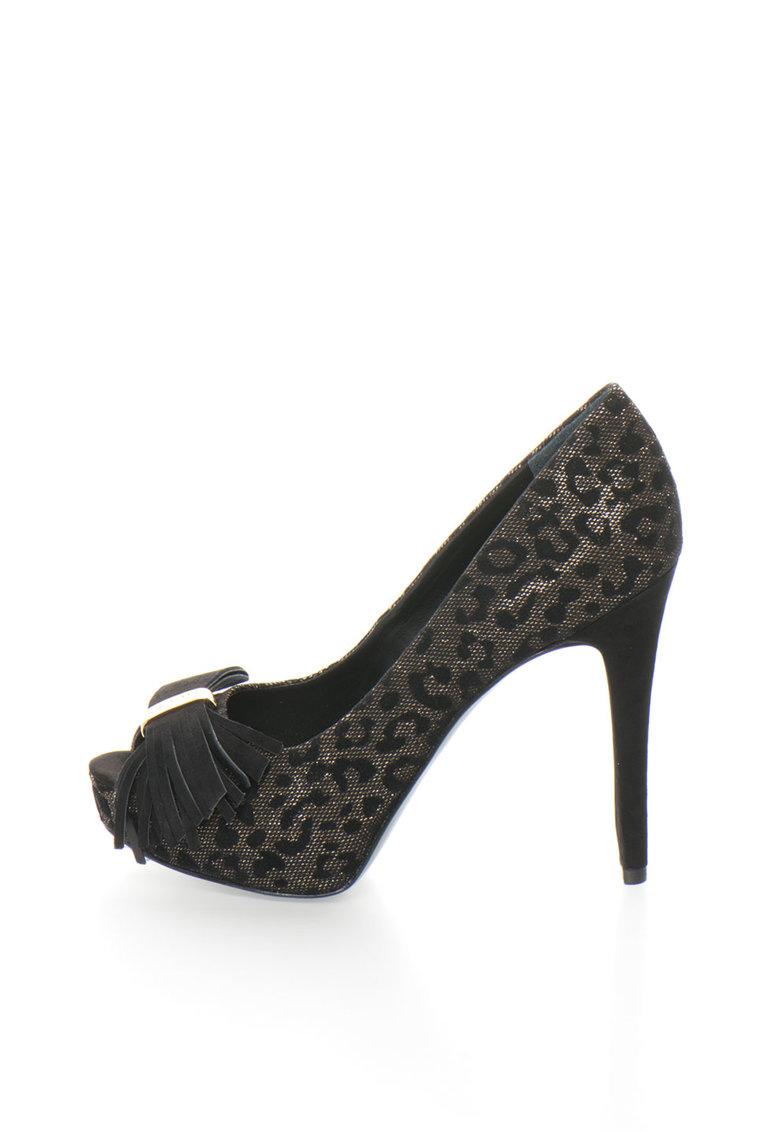 Guess Pantofi peep-toe negri cu animal print
