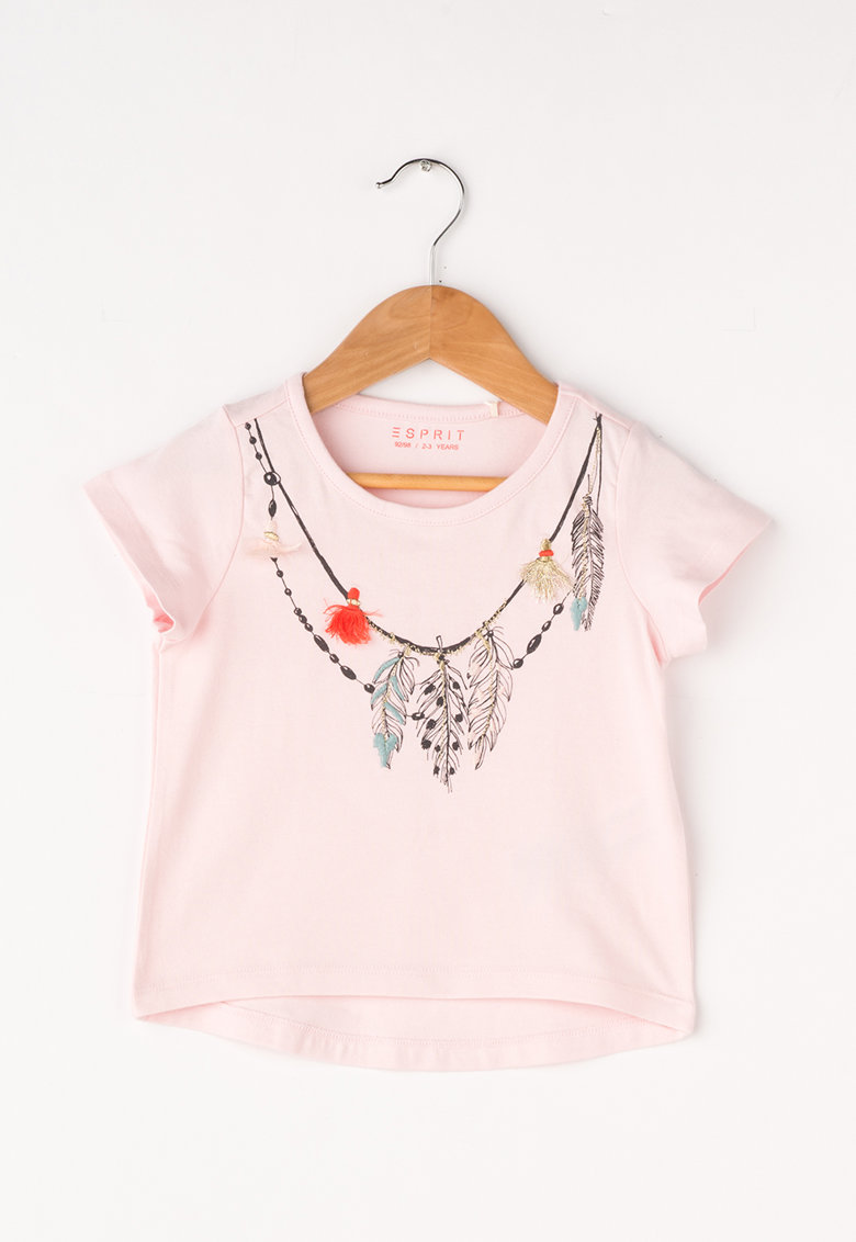 Esprit Tricou roz pal cu imprimeu boho