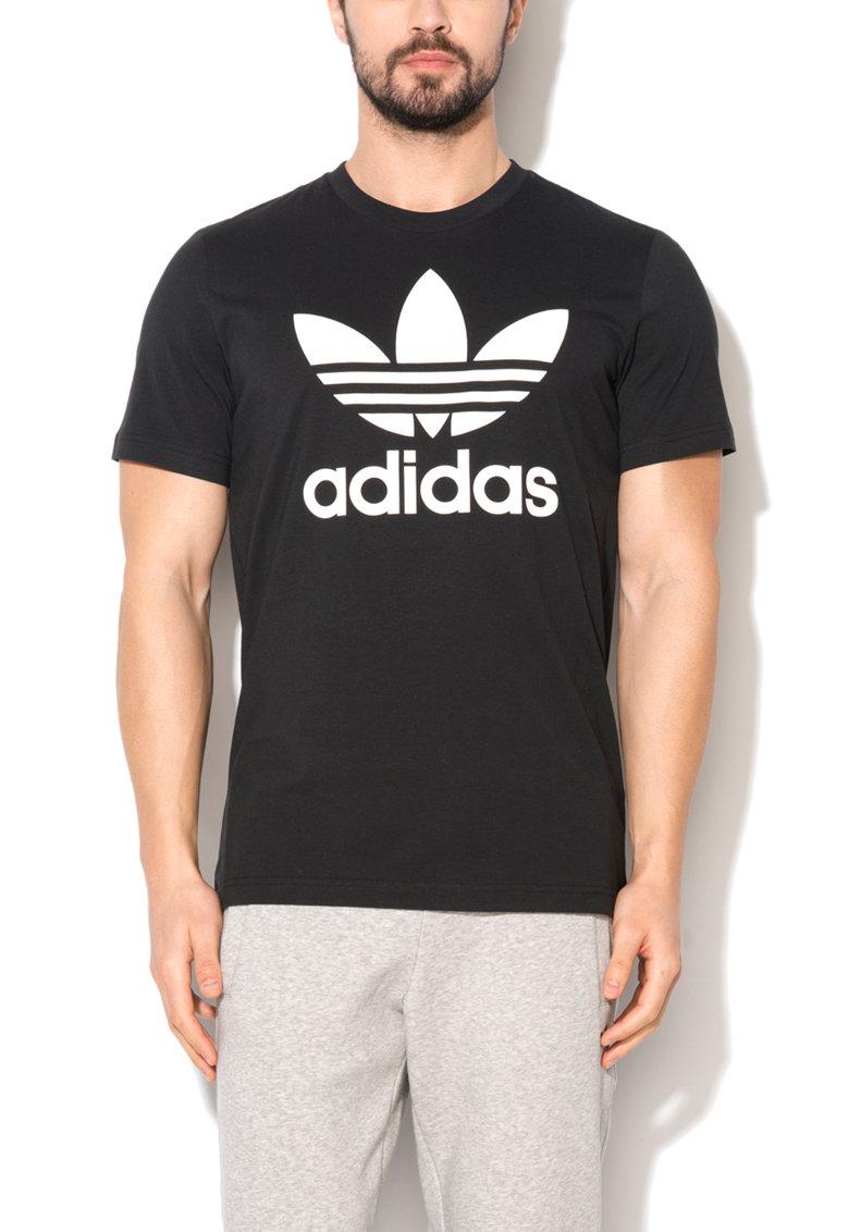 Tricou negru cu imprimeu logo alb