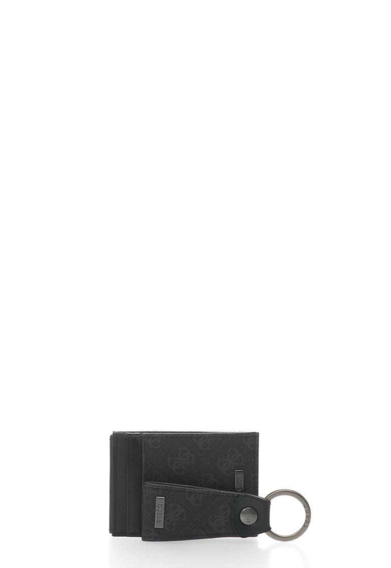 Set negru cu suport pentru carti de vizita si breloc
