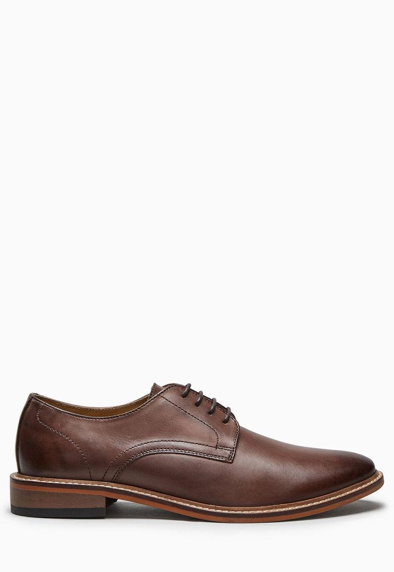 Pantofi derby maro de piele