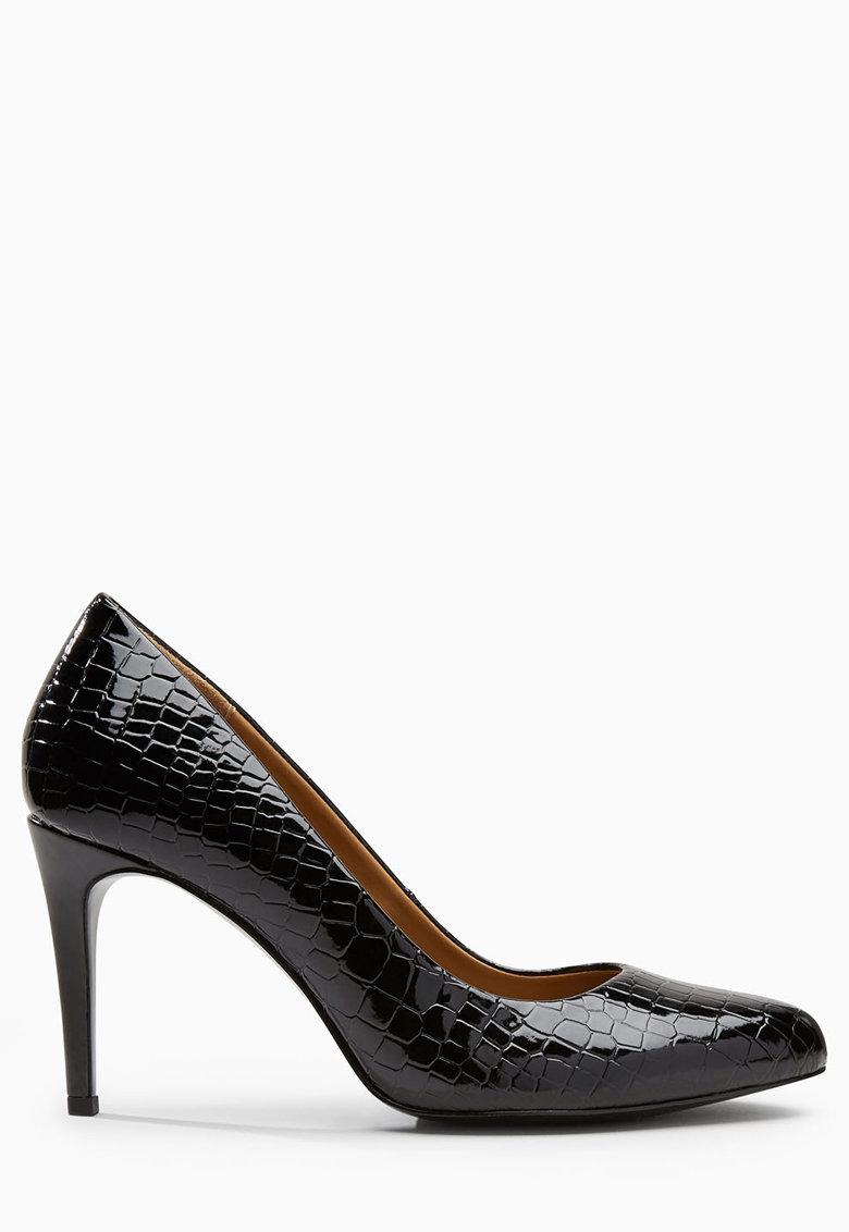 NEXT Pantofi negri lacuiti si cu model crocodil