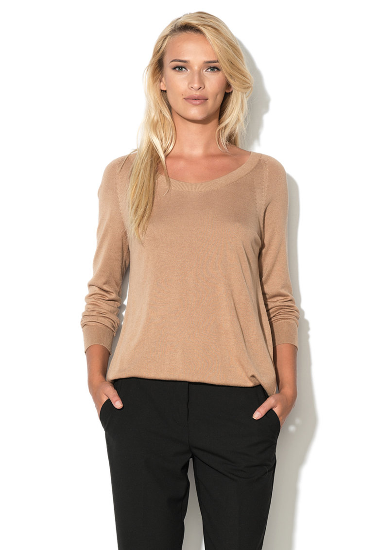 United Colors of Benetton Pulover maro camel tricotat fin