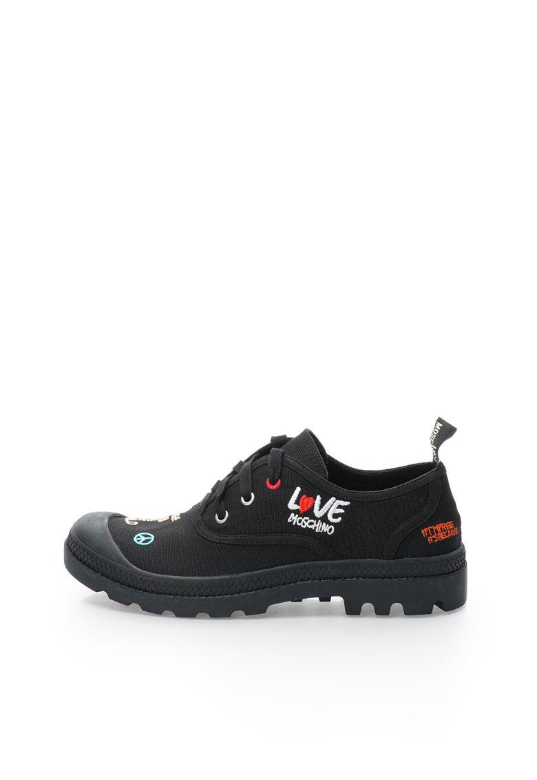Love Moschino Pantofi negri din panza cu broderie