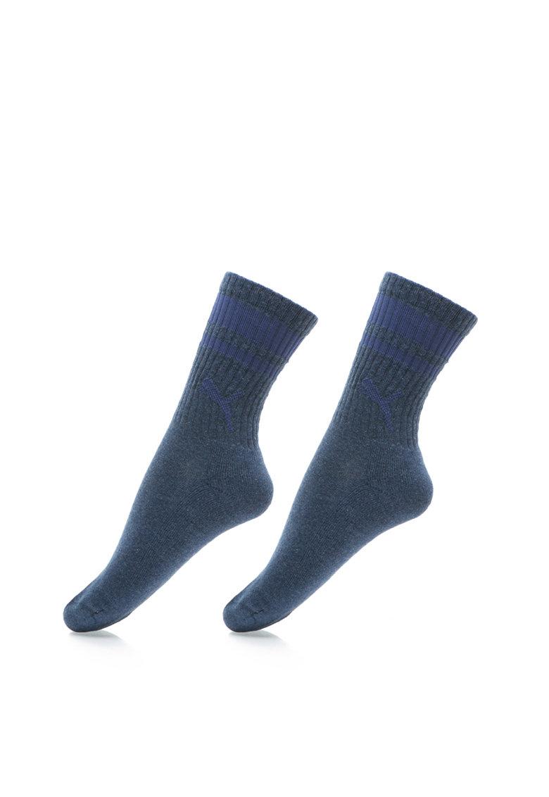 Set de sosete albastru indigo melange cu talpa dublata - 2 perec