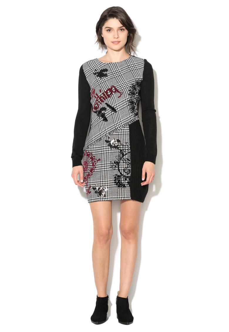 Desigual Rochie tricotata negru cu alb si imprimeu Madrid