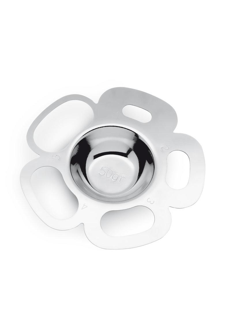 Instrument argintiu din otel inoxidabil pentru portionarea paste