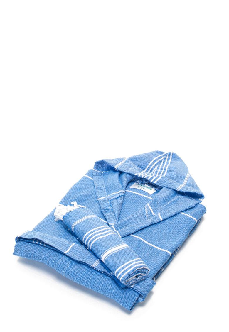 Leunelle Set de halat de baie si prosop bleu Sultan