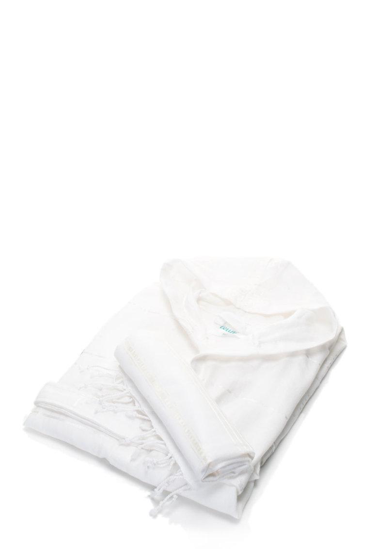 Set de halat de baie si prosop alb Sultan de la Leunelle