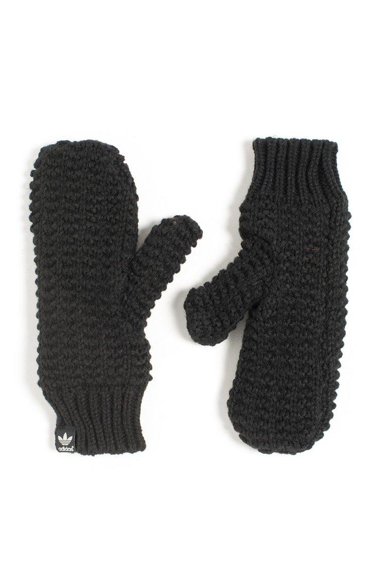 Set negru de fular si manusi tricotate