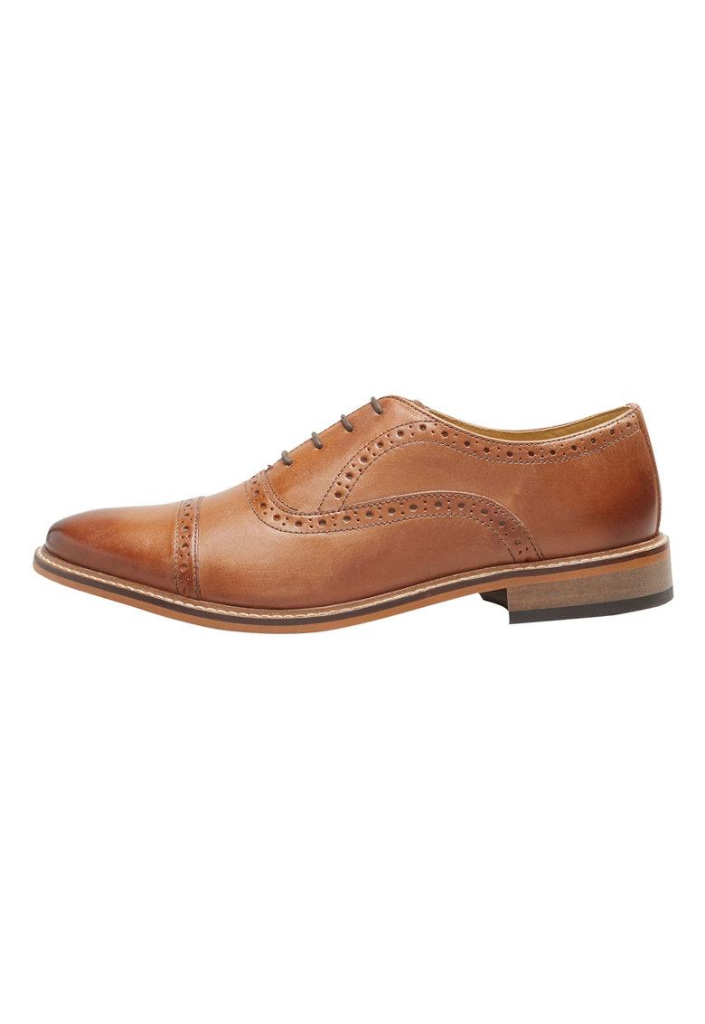 NEXT Pantofi brogue maro coniac de piele