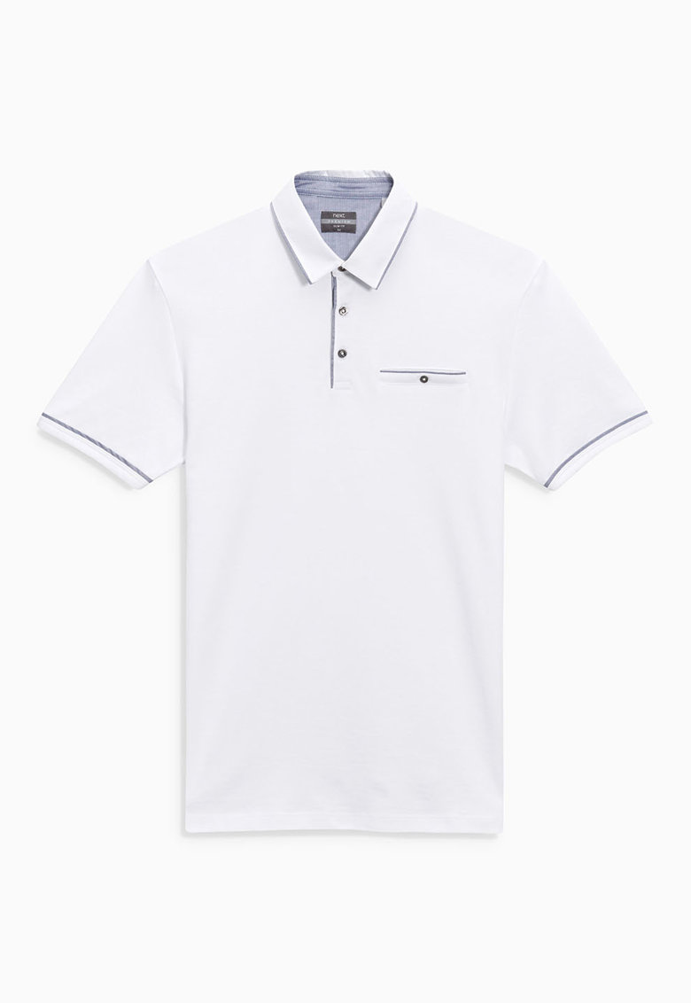 NEXT Tricou polo slim fit alb cu accente gri