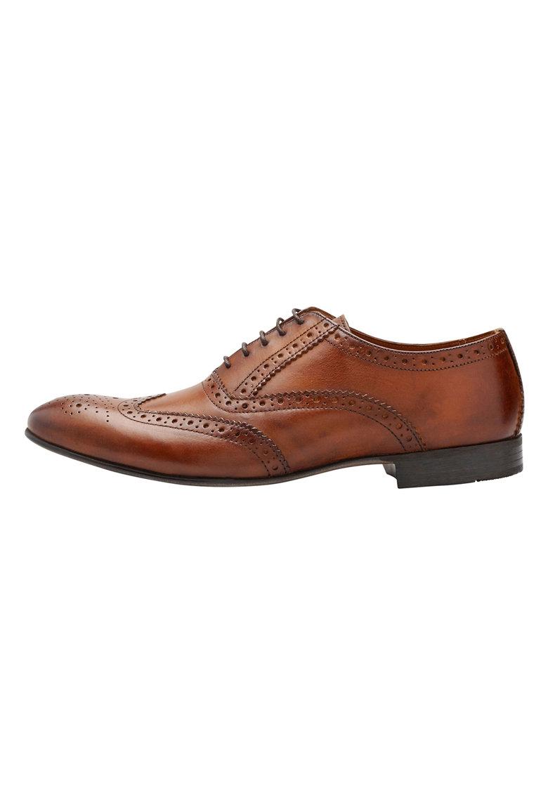 Pantofi brogue maro coniac de piele de la NEXT
