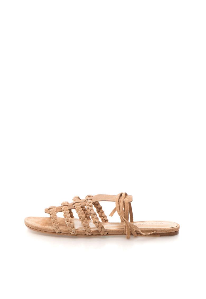 Sandale maro nisip de piele intoarsa cu bareta pe glezna