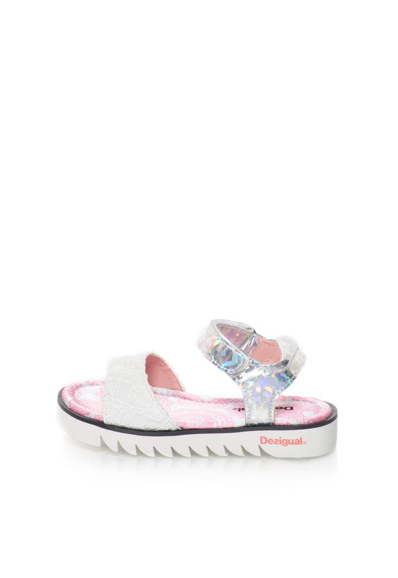 Sandale argintiu cu alb