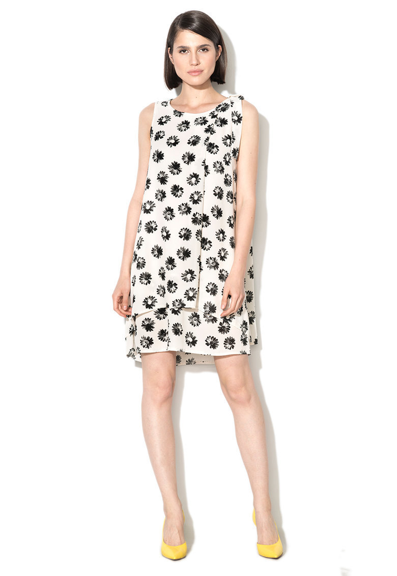 Zee Lane Collection Rochie alb si negru cu model cu margarete
