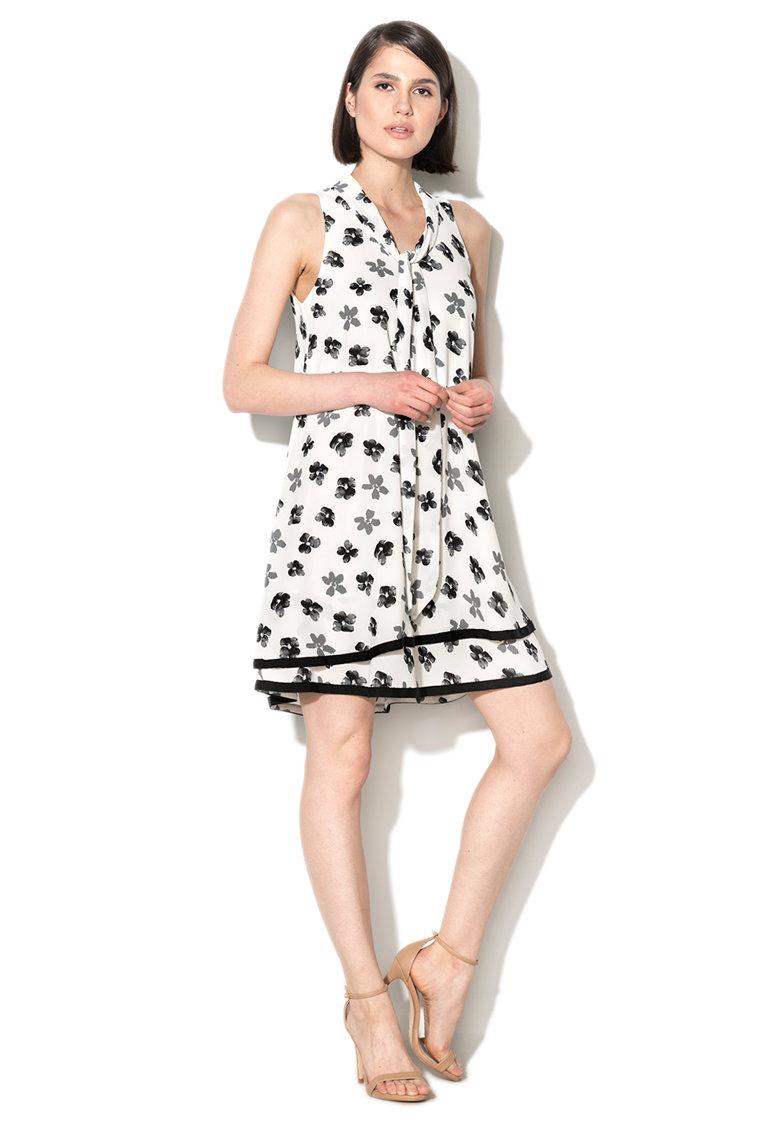 Zee Lane Collection Rochie alb cu imprimeu si guler tip esarfa