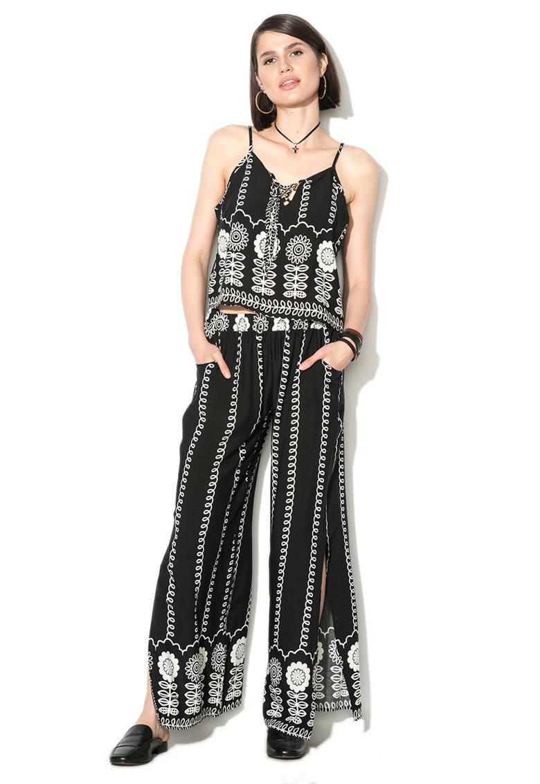 Zee Lane Denim Set de top si pantaloni cu imprimeu