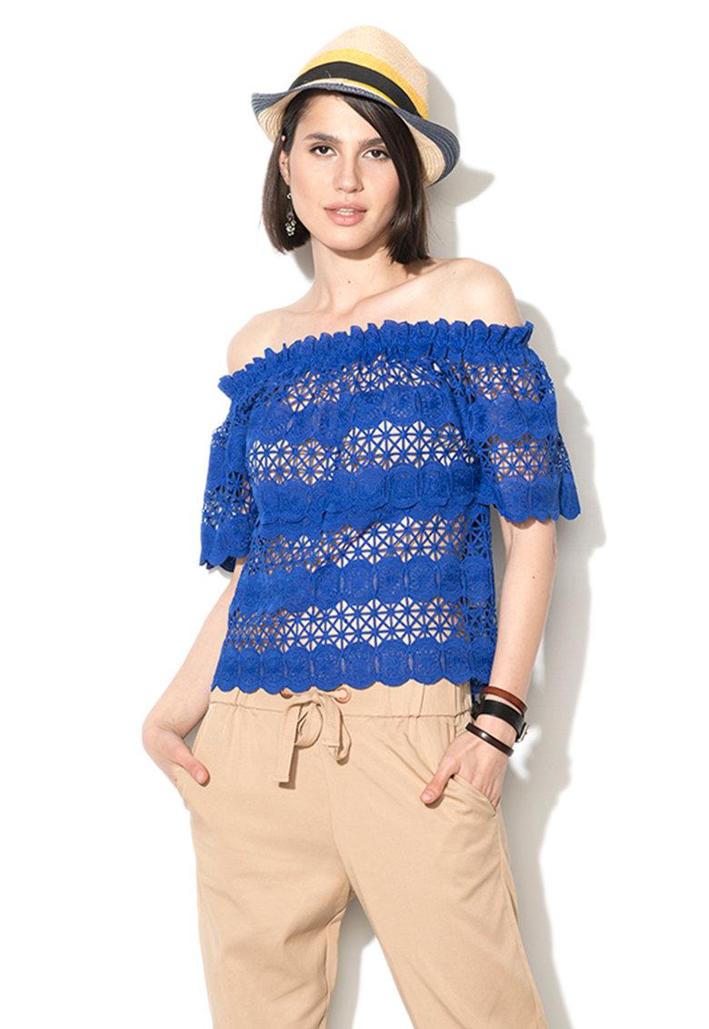 Zee Lane Denim Bluza albastra de dantela crosetata cu decolteu pe umeri