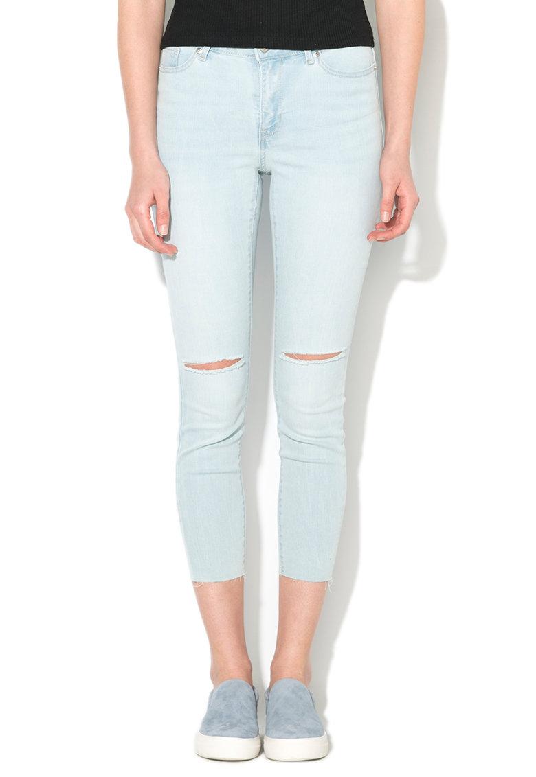 Blugi bleu skinny cu rupturi in genunchi Seven de la Vero Moda