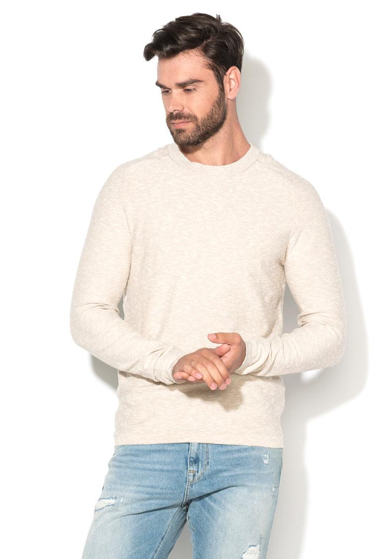 Selected Homme Pulover bej melange tricotat fin Kim