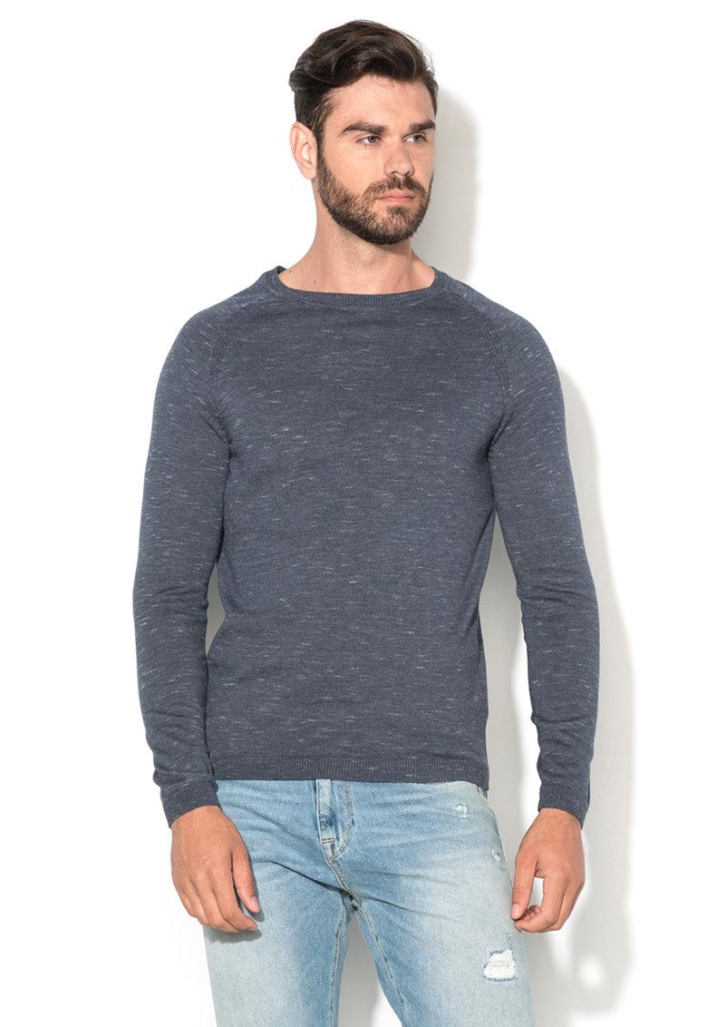Selected Homme Pulover albastru prafuit melange tricotat fin Tristan
