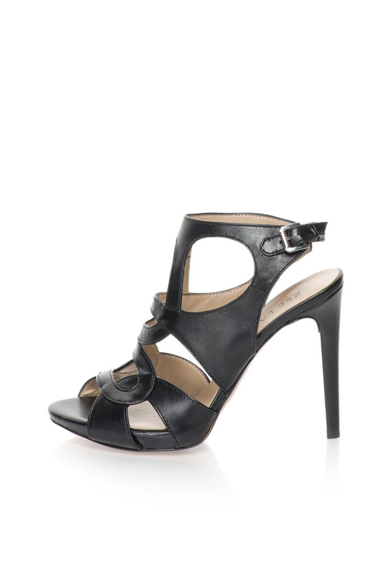 Sandale negre de piele cu toc inalt Alaska