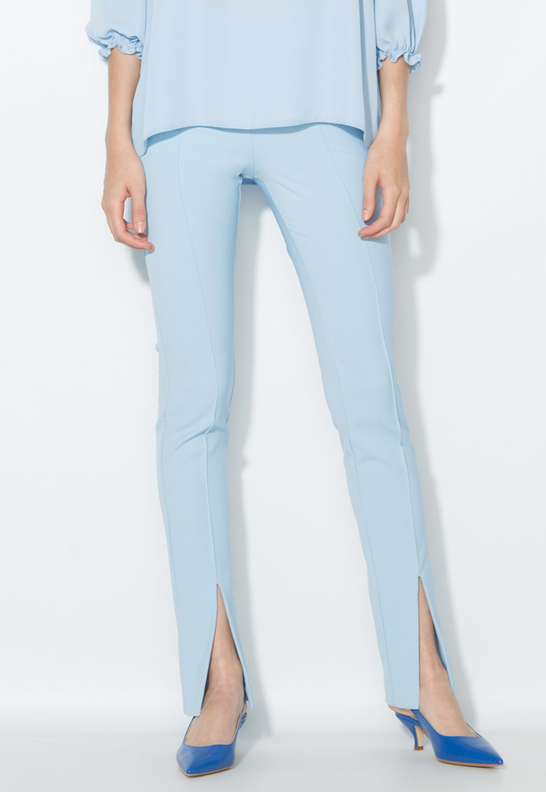 Zee Lane Collection Pantaloni bleu cu pensa si slituri frontale
