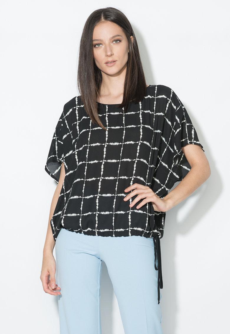 Zee Lane Collection Bluza in carouri negru si alb cu maneci kimono